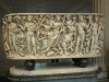 Marble sarcophagus Dionysos on the panther with his attendants.