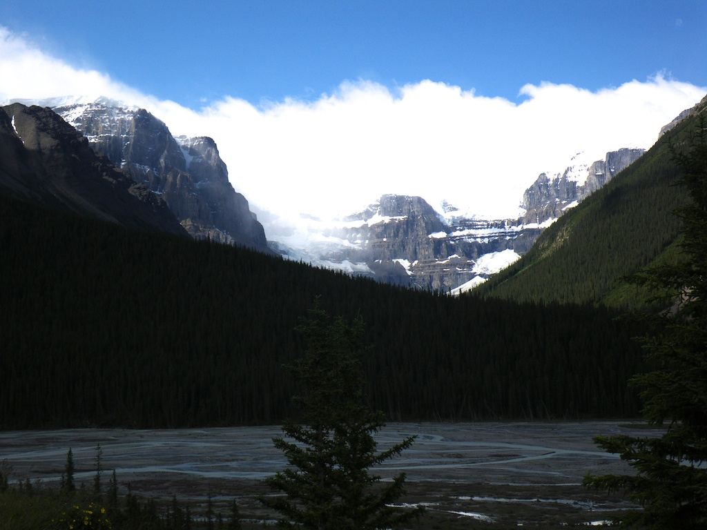 Stutfield Glacier seen from the Icefield Parkway