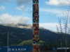 Totem pole at the Jasper train station